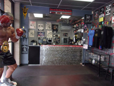 IronGloves Boxing Gym Interior Counter