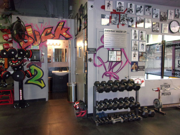 IronGloves Boxing Gym Interior Weights